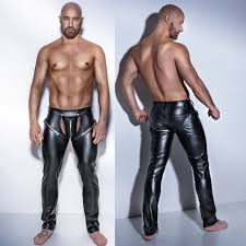 mans y tight crotchless leather latex o pants costumes for bar clubwear stripper pole