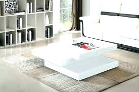 small white coffee table side tables for living room high gloss rotating square modern