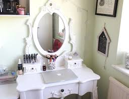 furniture small elegant white wooden makeup table ideas with oval ornate frame vanity mirror plus