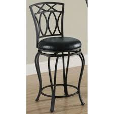 Coaster Furniture 24-Inch Elegant Metal Bar Stool with Black Faux Leather  Seat