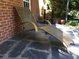 mid century modern chaise in rattan and bamboo