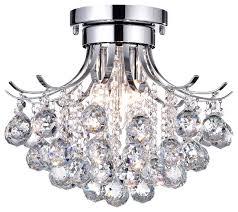 clarus 3 light semi flush mount crystal chandelier ceiling light fixture chrome