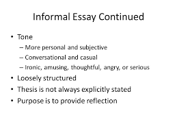 writing an informal persuasive essay remember this is not quite  3 informal essay continued tone more personal and subjective conversational and casual ironic amusing thoughtful angry or serious loosely