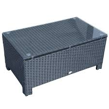 outsunny rattan wicker coffee table with glass top outdoor garden patio furniture black