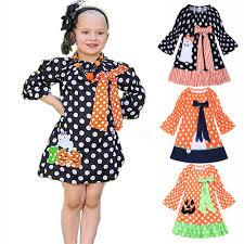 Kids Designer 4styles Halloween Dot Costume Kids Designer Clothes Girls Toddler Dress Baby Girl Dress Long Sleeve Pumpkin Party Dresses Gifts Ffa3126