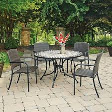 home styles furniture marble top 5 piece round outdoor dining table and 4 chairs