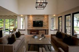 living room stone wall