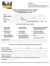 race in application form fillable online nevadahumanesociety 5pm volunteer application form