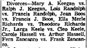 Divorce notice for Larga & Cleo Keele, 14 Nov 1953 Janesville Gazette -  Newspapers.com