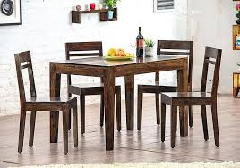 sheesham dining table and chairs wood set with 4 for living room walnut brown