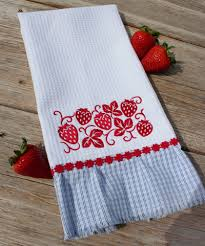 kitchen towel embroidery designs. a pleated fabric border and decorative trim dress up any kitchen towel! click here for free project instructions! towel embroidery designs