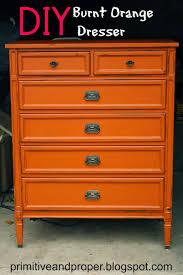 primitive  proper diy burnt orange dresser lightly distressed