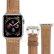 qialino crazy horse texture genuine leather band for apple watch series 4 44mm series 3