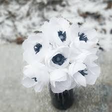 Paper Flower Bouquet Etsy Paper Flower Bouquet White Paper Anemones Crepe Paper Anemones Wedding Paper Flowers Crepe Paper Flowers Wedding Centerpiece