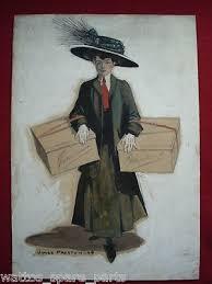 JAMES MOORE PRESTON (1873-1962) ORIGINAL PAINTING-LADY SHOPPING   #411430110