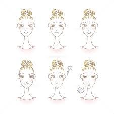 いろいろな表情をするシニヨンヘアスタイルの女性 お団子ヘア ファッショ