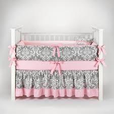 Amazon Damask Gray & Pink Baby Bedding 5pc Crib Set by