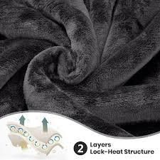 grey sherpa fleece blanket large warm