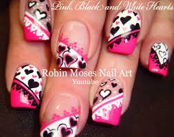 5 Nail Art Tutorials | DIY Valentine Nail Art | Pink Black & White ...