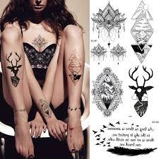 Kmenové Moose černá Dočasné Tetování Samolepky ženy Umění Těla