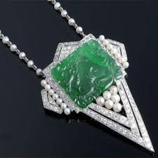 antony jewelers assymetrical necklace with tear shaped carved jade pearl and diamonds