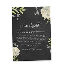 Announcement Cards Wedding Amazon Com We Eloped Chalkboard Rustic Elopement Wedding