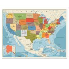 Large Us Map Poster Usa United States Map Poster Size Wall Decoration Large Map Of The Usa 80x60