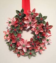Christmas Paper Flower Wreath Origami Paper Flower Wreath Christmas Wreath Holiday Wreath