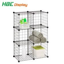 diy dssemble metal wire cube t shirt storage stacking rack