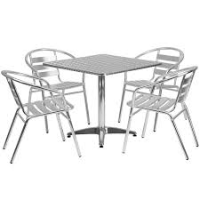 flash furniture square aluminum indoor outdoor table with 4 slat back chairs gray