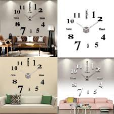 3d diy large wall clock stickers frame less modern decorative clock