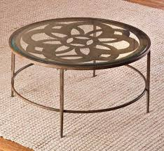 hilale marsala 36 inch round coffee table in copper beautiful top glass with flower pattern and