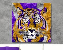 tiger painting geaux tigers canvas wall art geaux tigers print lsu tigers art sports art dorm decor sports decor sports gift