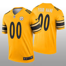 Pittsburgh Legend Custom Steelers Men's - Gold Jersey Inverted