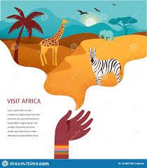 Safari Animals Template Africa Banner Vector Illustration Of Safari Animals