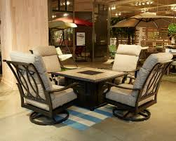 ashp445 772 821 5 pc chestnut ridge collection 45 square dark brown metal patio fire pit coffee table and swivel chairs