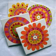 hand painted ceramic tile coasters jocelynproustdesigns com au