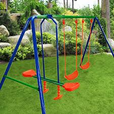 kids outdoor swing set rocker seesaw playset metal frame incl tubing protectors