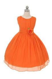 Orange flower girl dresses