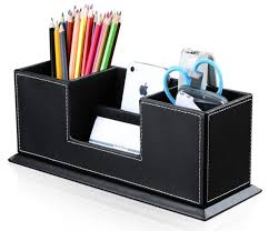 com kingfom office supplies desk organizer pu leather storage box 4 divided compartments for pen business card remote control mobile phone