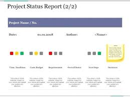 Project Status Slide Project Status Report Template 2 Presentation Styles Samples