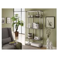 Bookcase Table Amazoncom Monarch Chrome Metal Bookcase 72 Inch Glossy White