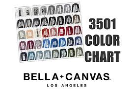 Bella Color Chart Bella 3501 Long Sleeve T Shirt Color Chart