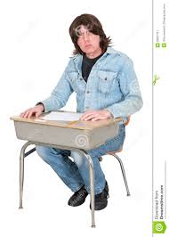 high school or college student in school desk class isolated