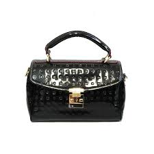 arcadia womens black patent leather embossed handbag purse doctor bag from arcadia