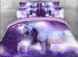 incredible onlwe 3d unicorn and fairies printed cotton 4 piece purple bedding unicorn bedding set ideas