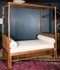 Rattan Faux Bamboo Canopy Bed