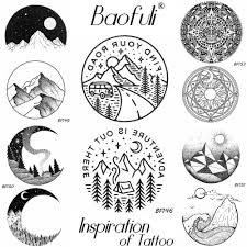 Baofuli Pencil Sketch Mountain Tree Temporary Tattoo Seal Body Art
