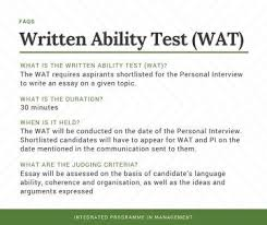 what topics can be asked in the written ability test wat of the  what topics can be asked in the written ability test wat of the ipm iim 2017