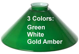 pool table billiard light replacement glass shade green white
